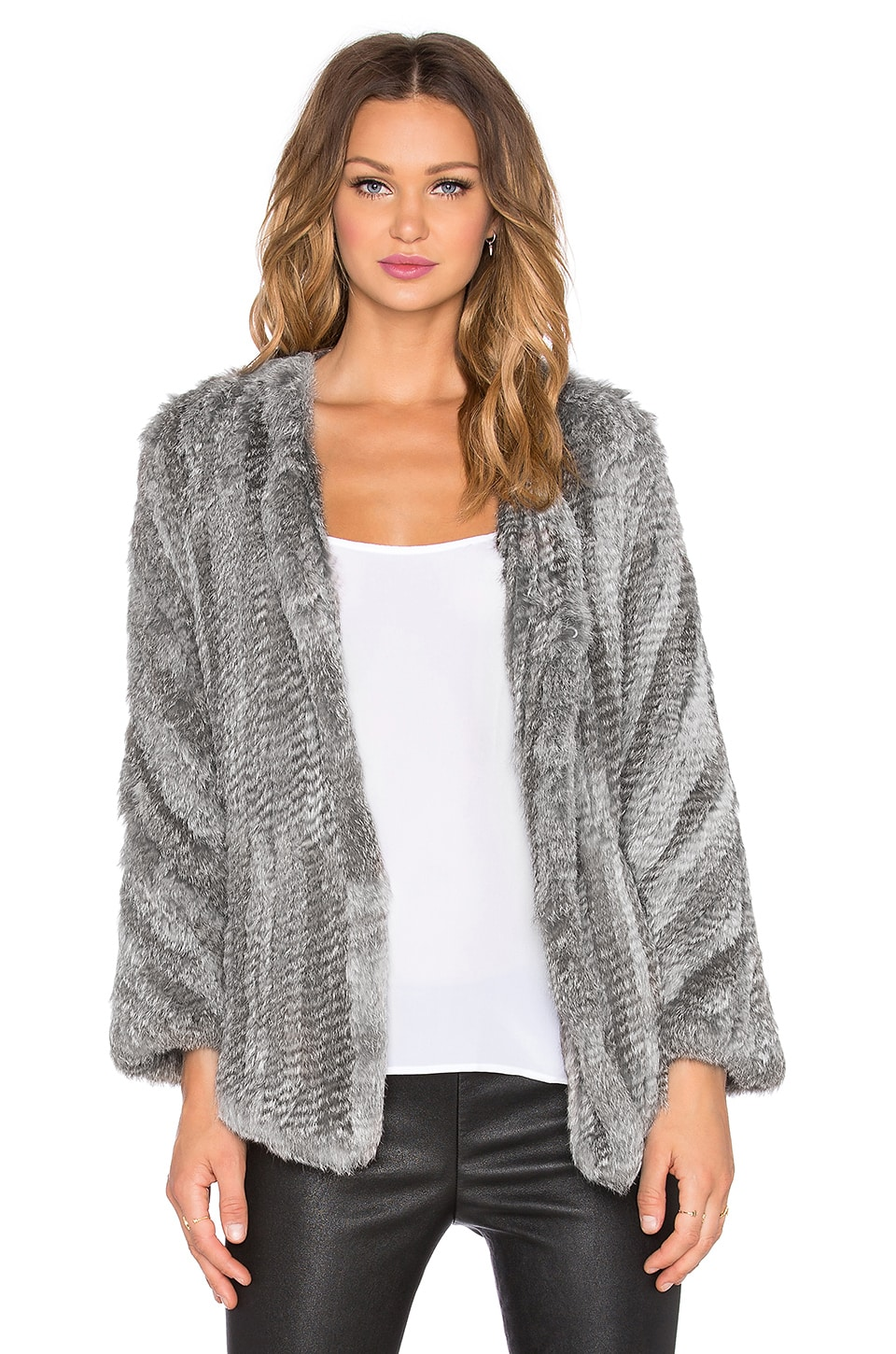 Arielle Rabbit Fur Coat in Multi Grey | REVOLVE