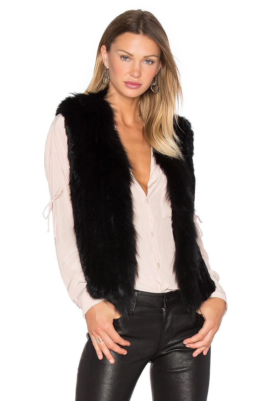 Short Collared Rabbit Fur Vest by Arielle