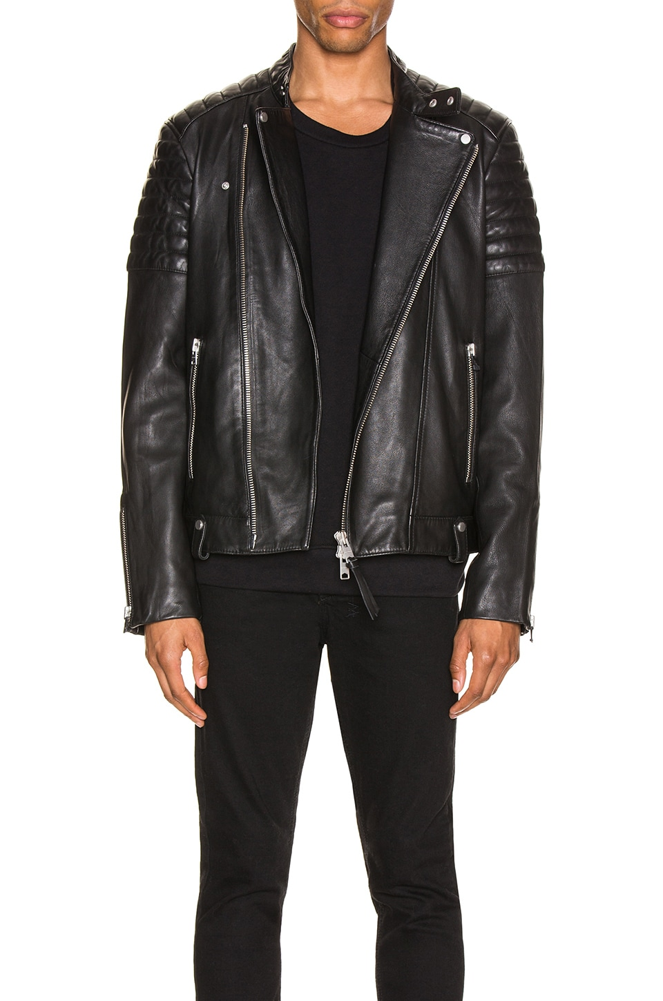 ALLSAINTS Jasper Leather Biker Jacket in Black