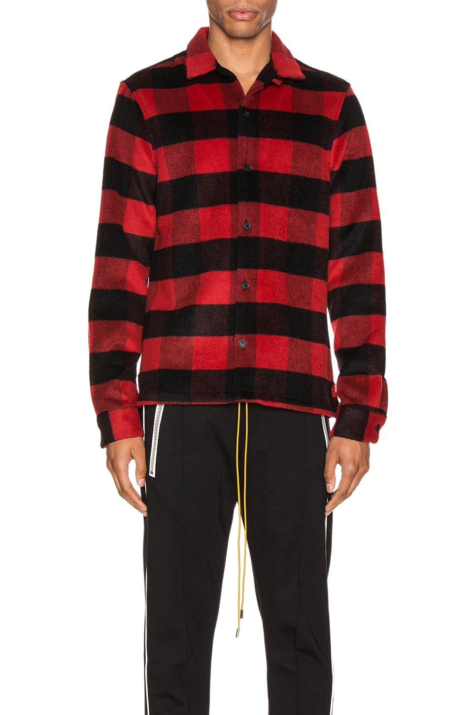 ALLSAINTS Drytown Long Sleeve Shirt in Red & Black