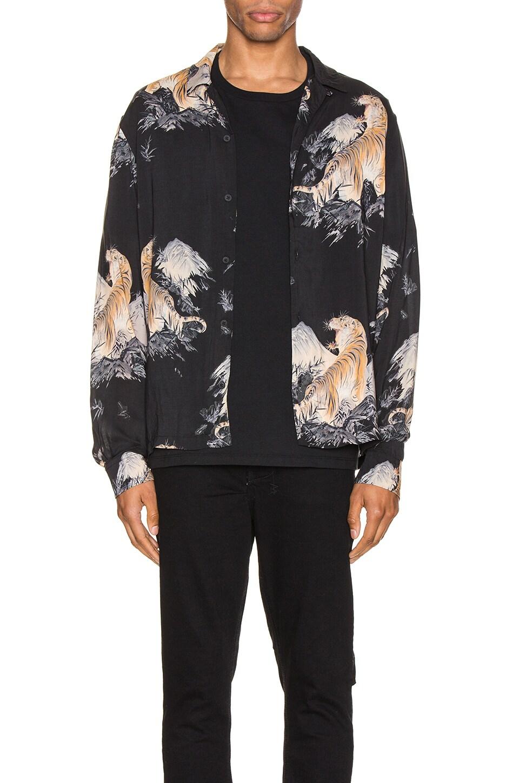 ALLSAINTS Kayan Long Sleeve Shirt in Jet Black