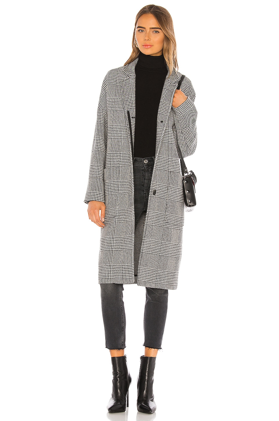 ALLSAINTS Teya Check Coat in Black & White