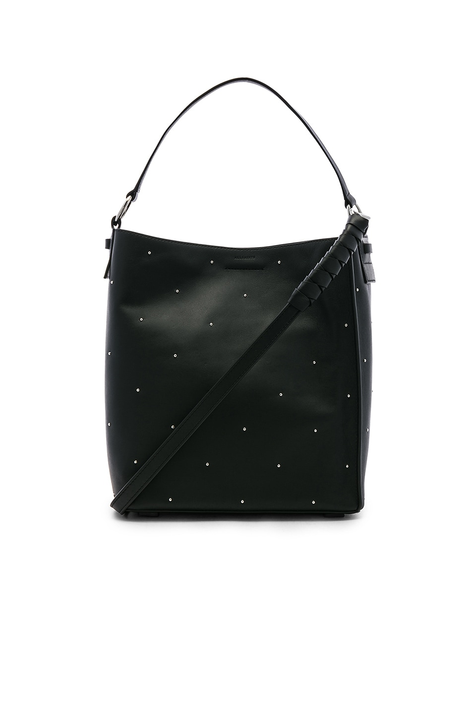 Small Kathi Studded North/South Leather Tote - Black