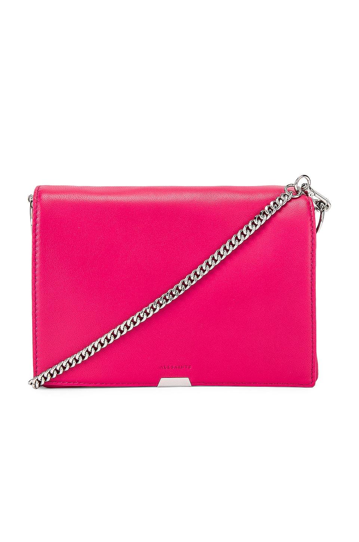 ALLSAINTS Captain Flap Shoulder Bag in Fuchsia Pink