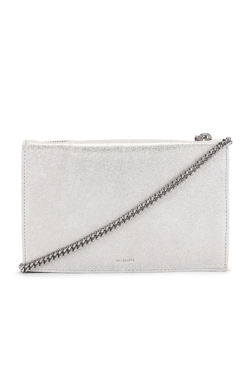 ALLSAINTS Glitz Chain Wallet Crossbody in Glittering Silver