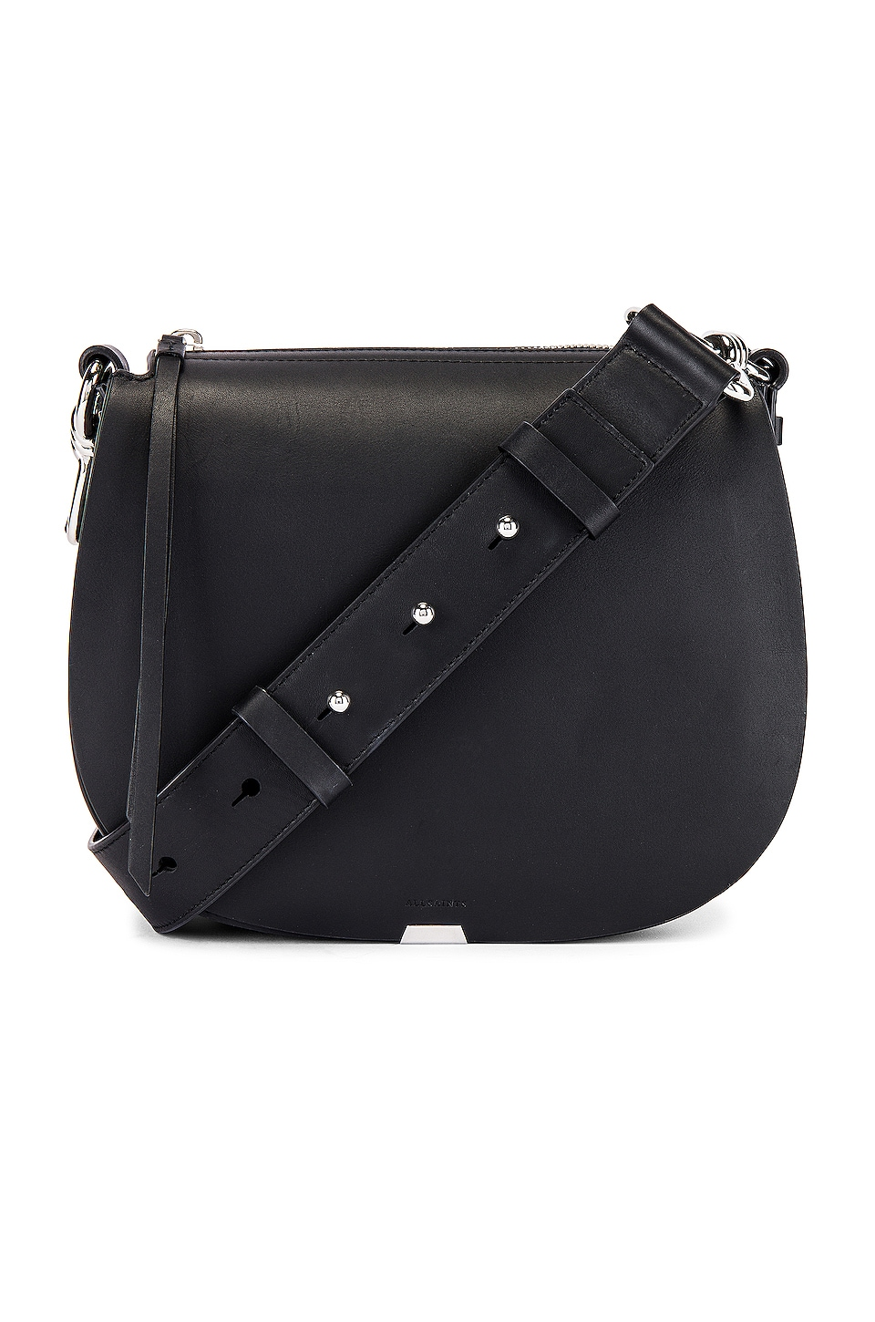 ALLSAINTS Captain Small Round Crossbody in Black