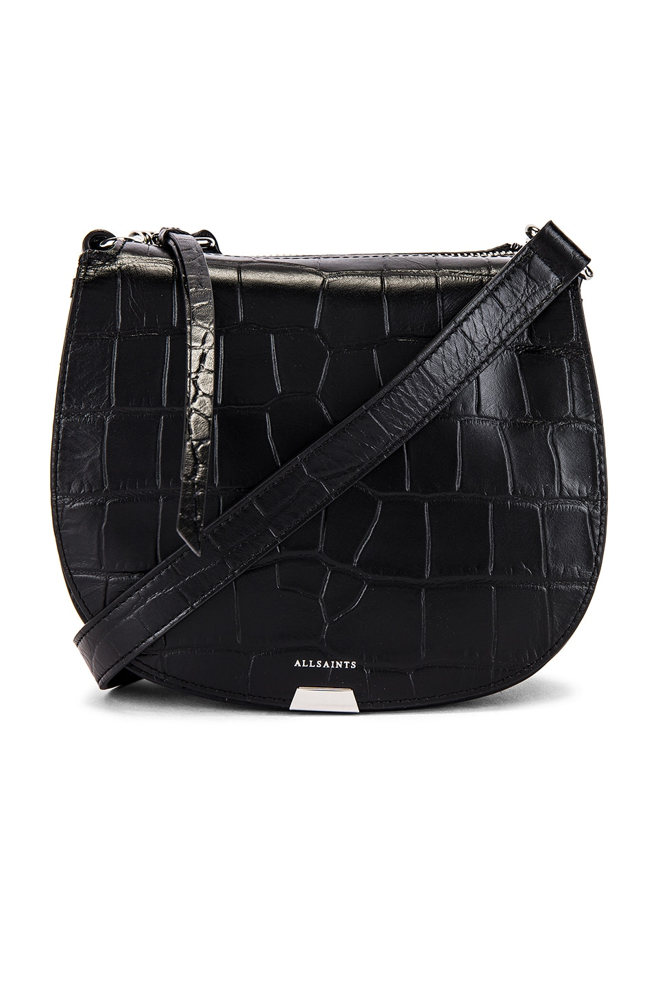ALLSAINTS Polly Small Round Crossbody in Black