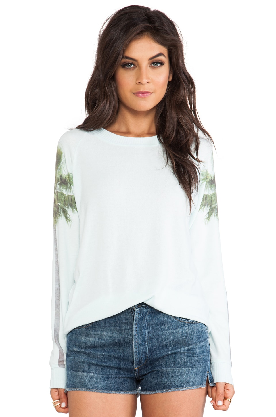 All Things Fabulous Palm Tree Cozy Sweatshirt in Mist
