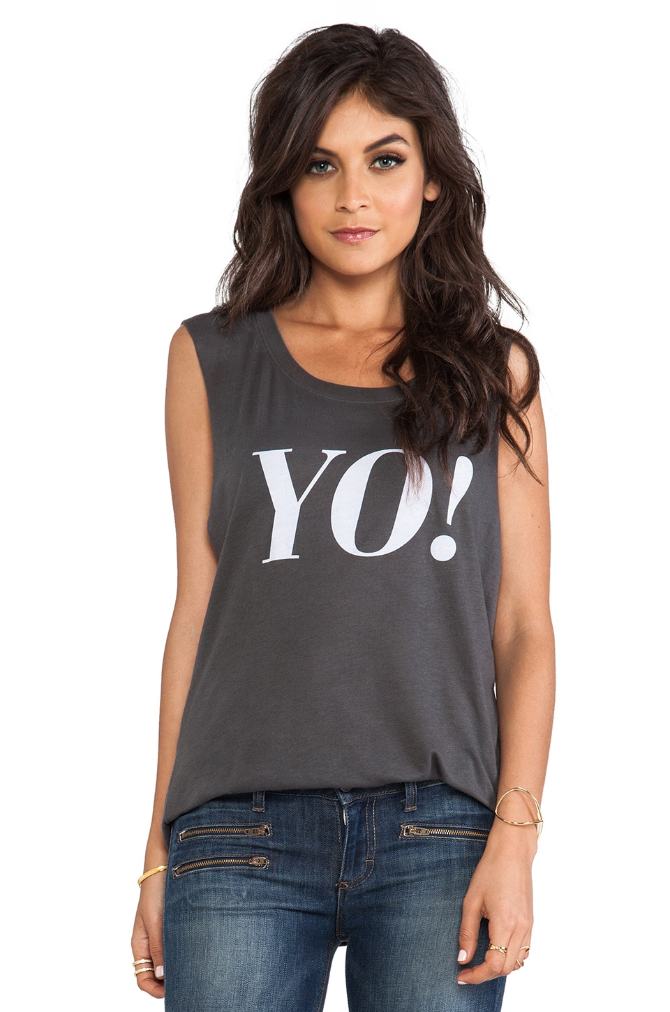 All Things Fabulous Yo! Muscle Tee in Black