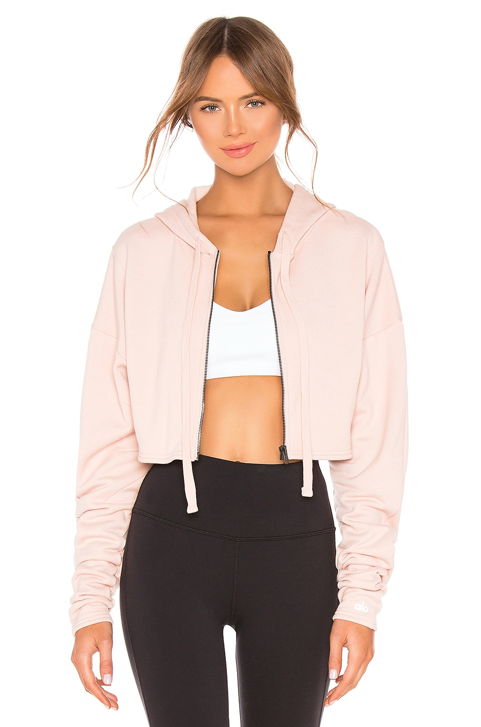 alo Extreme Crop Jacket in Nectar