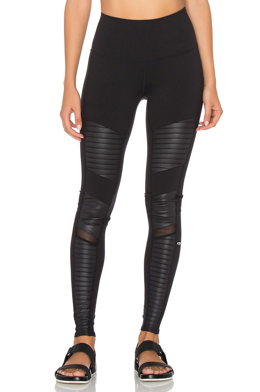 alo High Waisted Moto Legging in Black & Black Glossy