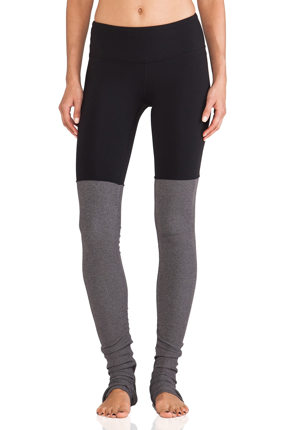 alo Goddess Ribbed Legging in Black & Stormy Heather