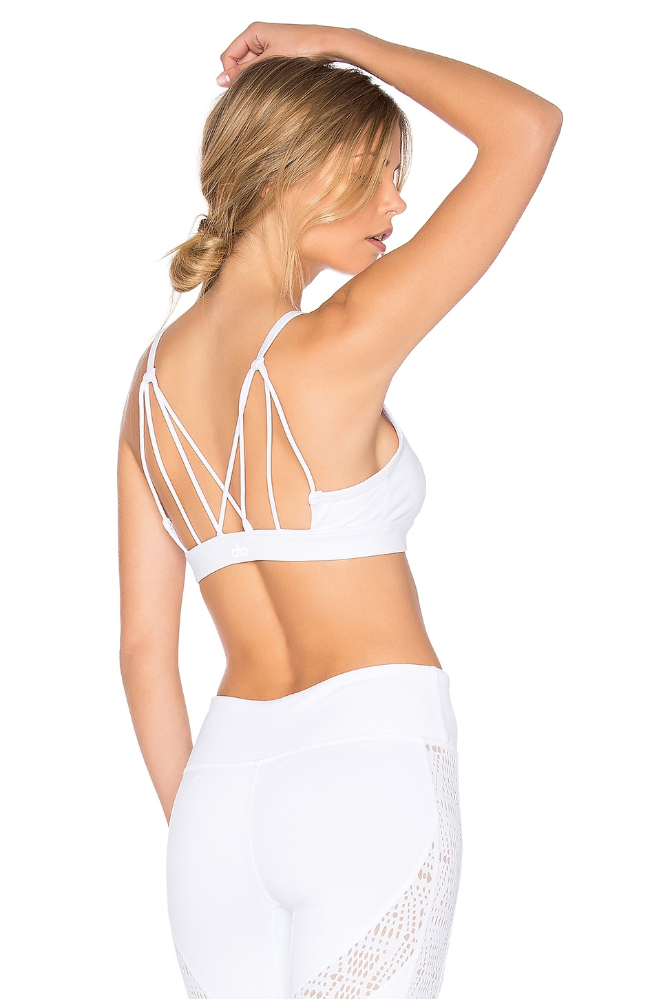 alo Glow Sports Bra in White Glossy