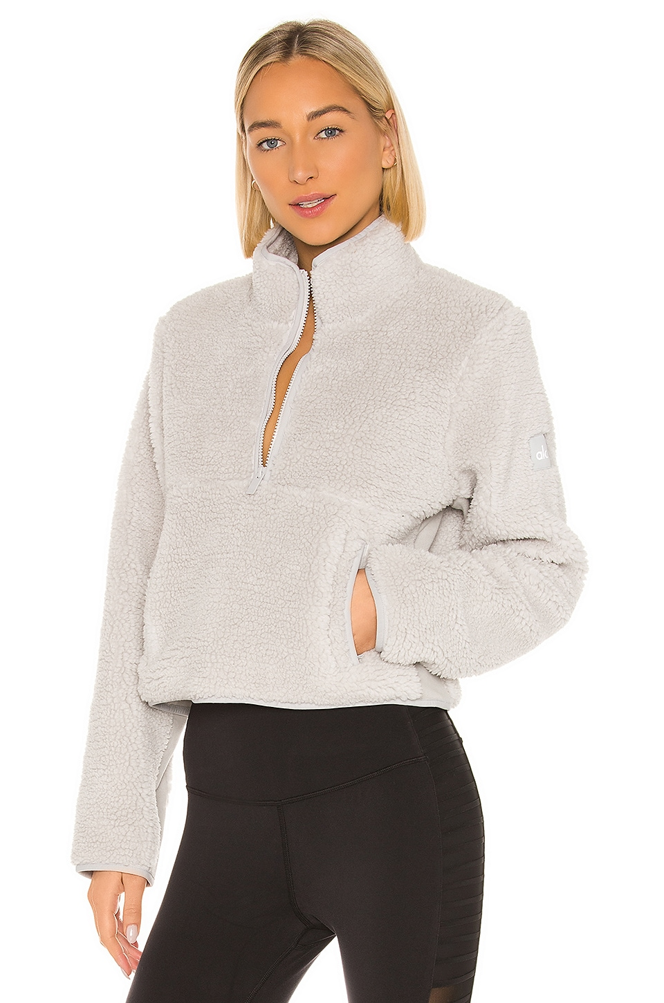 alo Shanti Half Zip Sherpa in Dove Grey