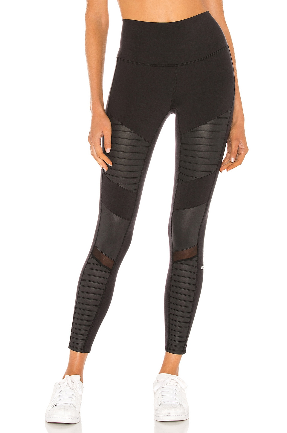 Womens Highwaist Moto Ribbed Full Mesh Leggings Pockets Yoga Pants