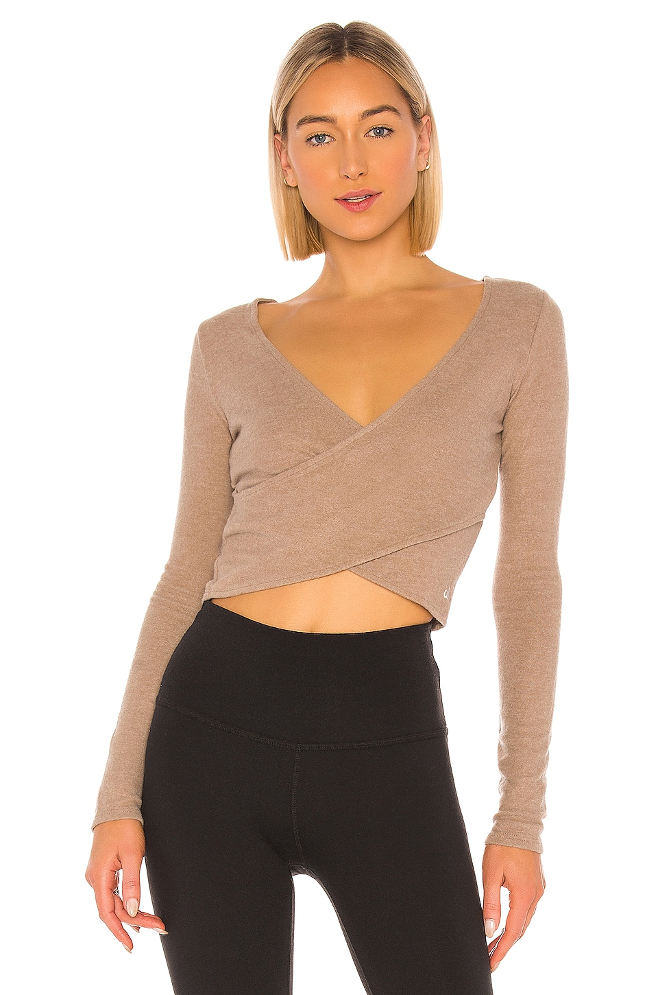 alo Amelia Luxe Long Sleeve Crop in Gravel