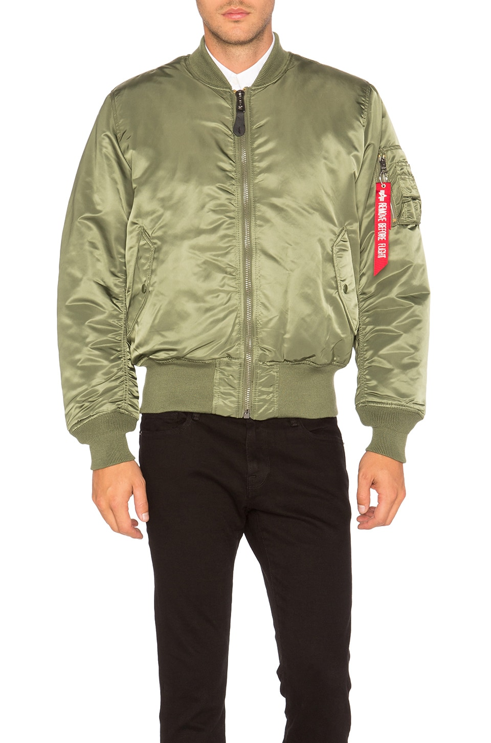 sale retailer e8bee 94d2d ALPHA INDUSTRIES MA 1 Blood Chit Bomber Jacket in Sage | REVOLVE