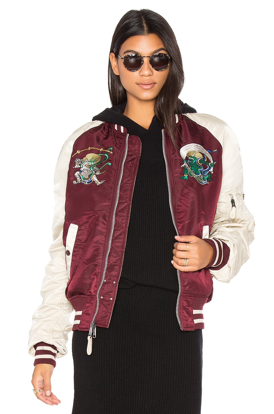ALPHA INDUSTRIES MA 1 Souvenir Shinto Bomber in Maroon & Vintage White & Camel