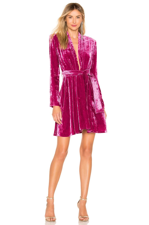 A.L.C. Kiera Velvet Dress in Hot Pink