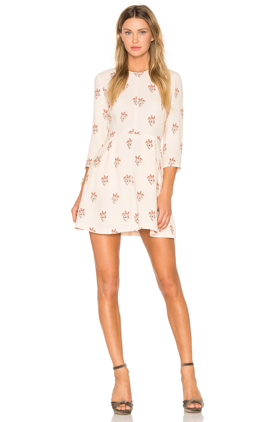 A.L.C. Terry Dress in Peach & White