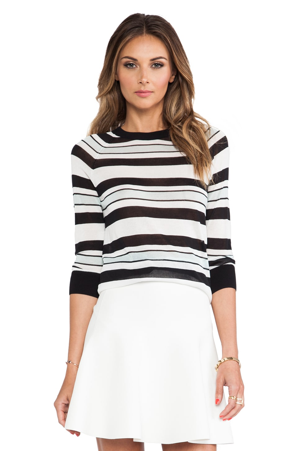 A.L.C. Theo Stripe Sweater in White/Black/Mint