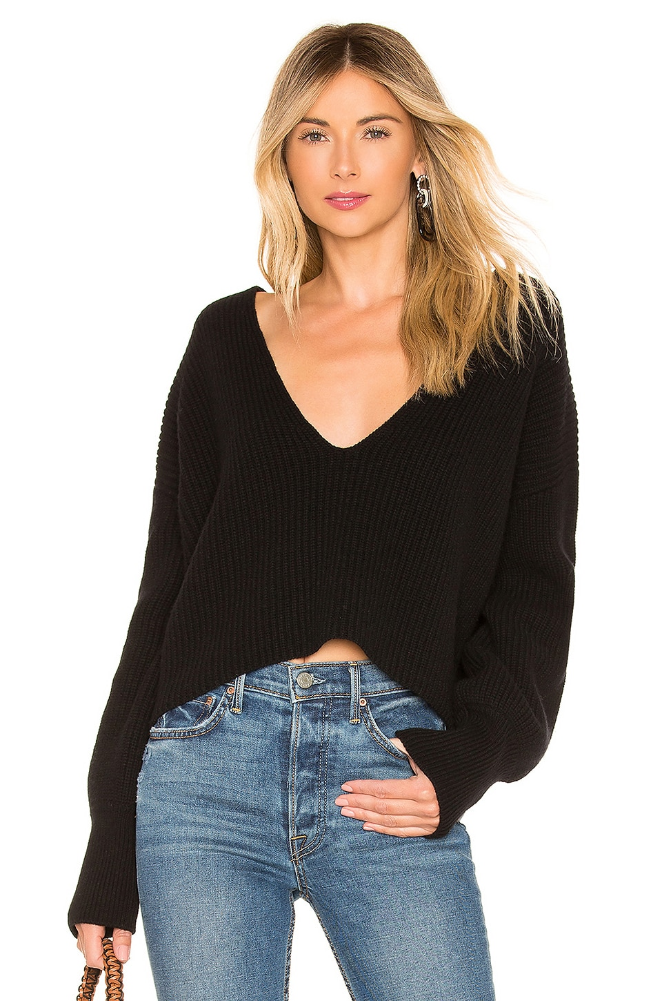Melanie Plunging Merino Wool Sweater in Black