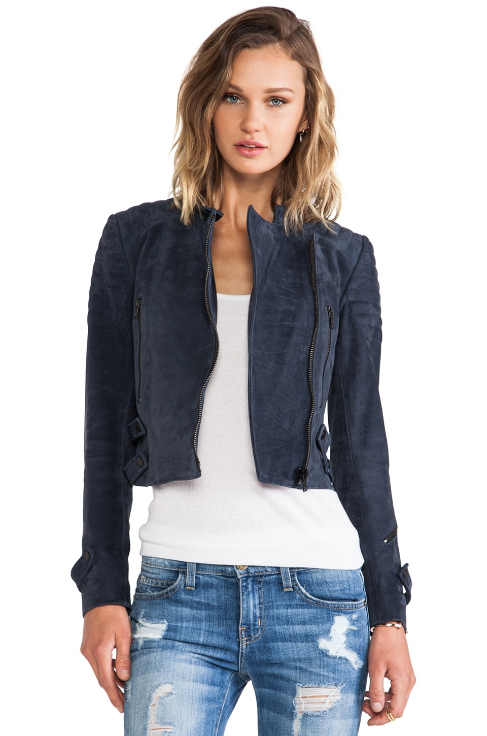 A.L.C. Jake Leather Jacket in Navy
