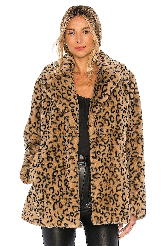 A.L.C. Stone Faux Fur Coat in Light Brown & Black