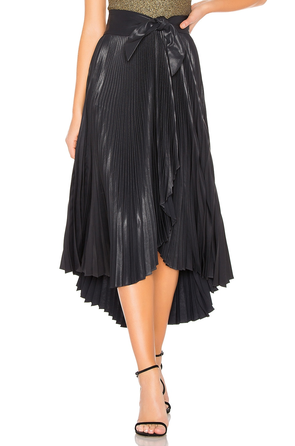 A.L.C. Eleanor Leather Skirt in Midnight
