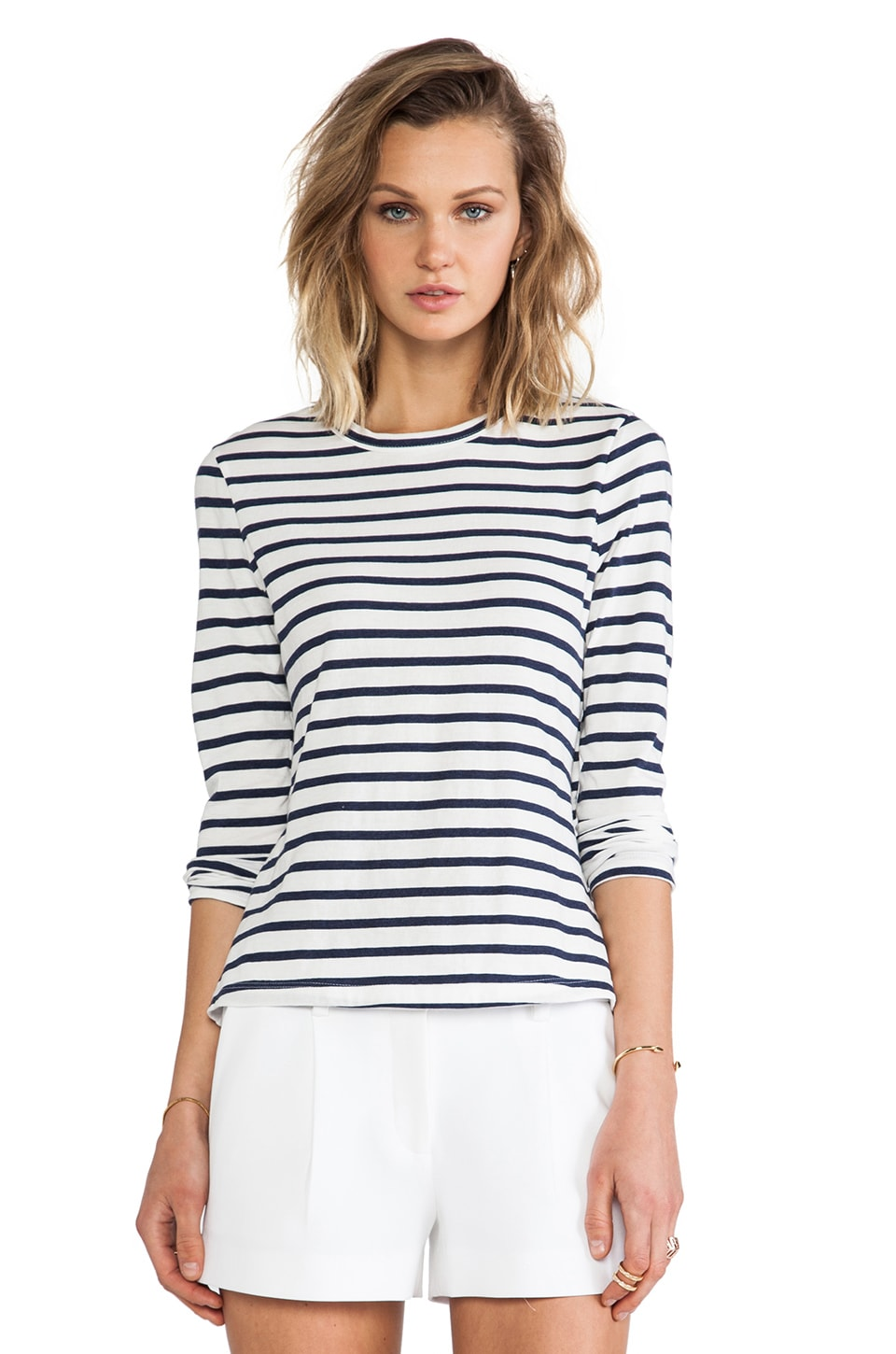 A.L.C. Dru Stripe Tee in White & Navy