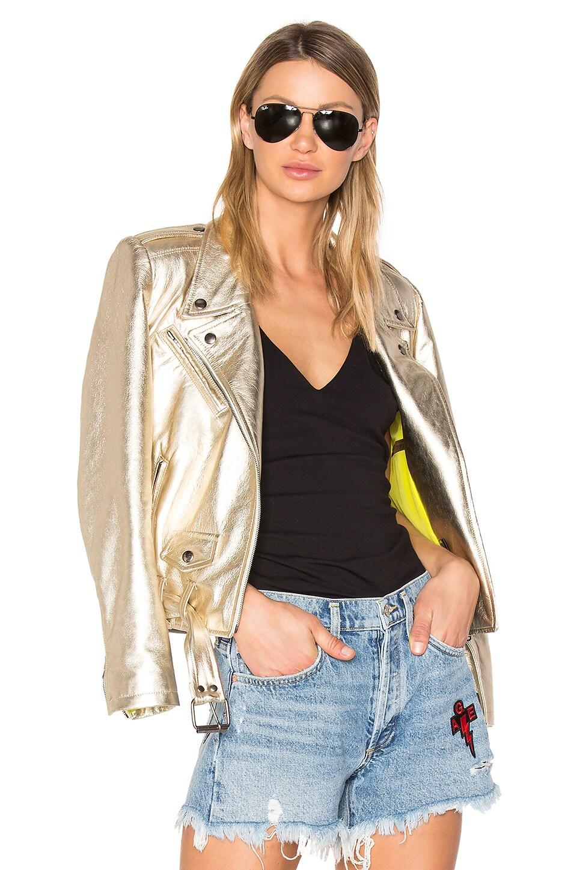 ALYSON EASTMAN Gem Leather Jacket in Gold