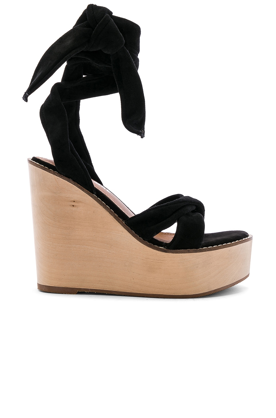 Alias Mae Kendra Wedge in Black Kid Suede
