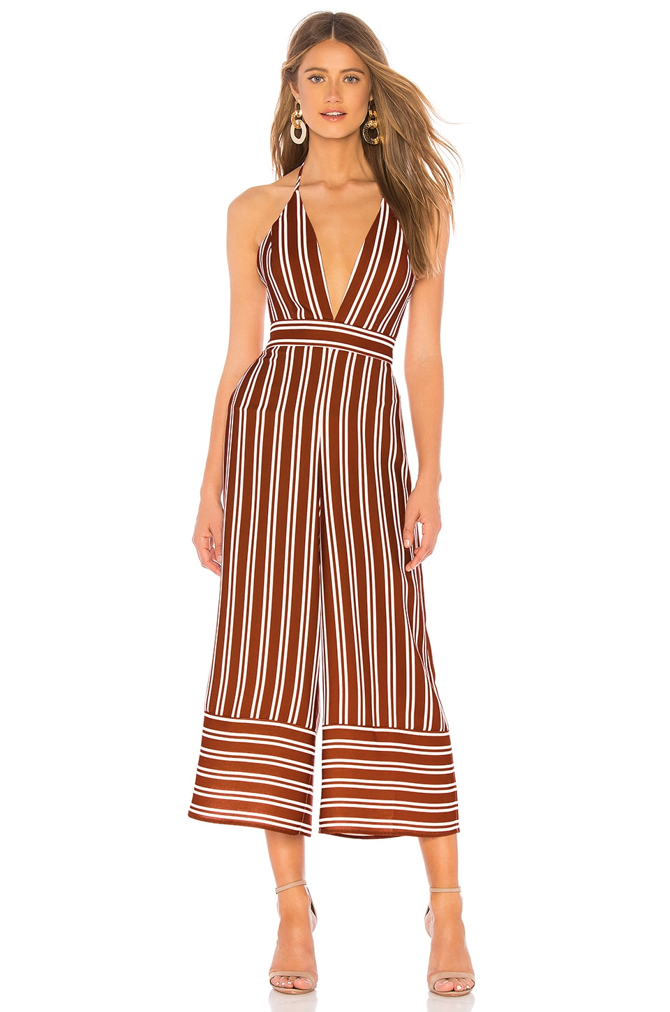Amanda Uprichard Montague Jumpsuit in Rust Stripe