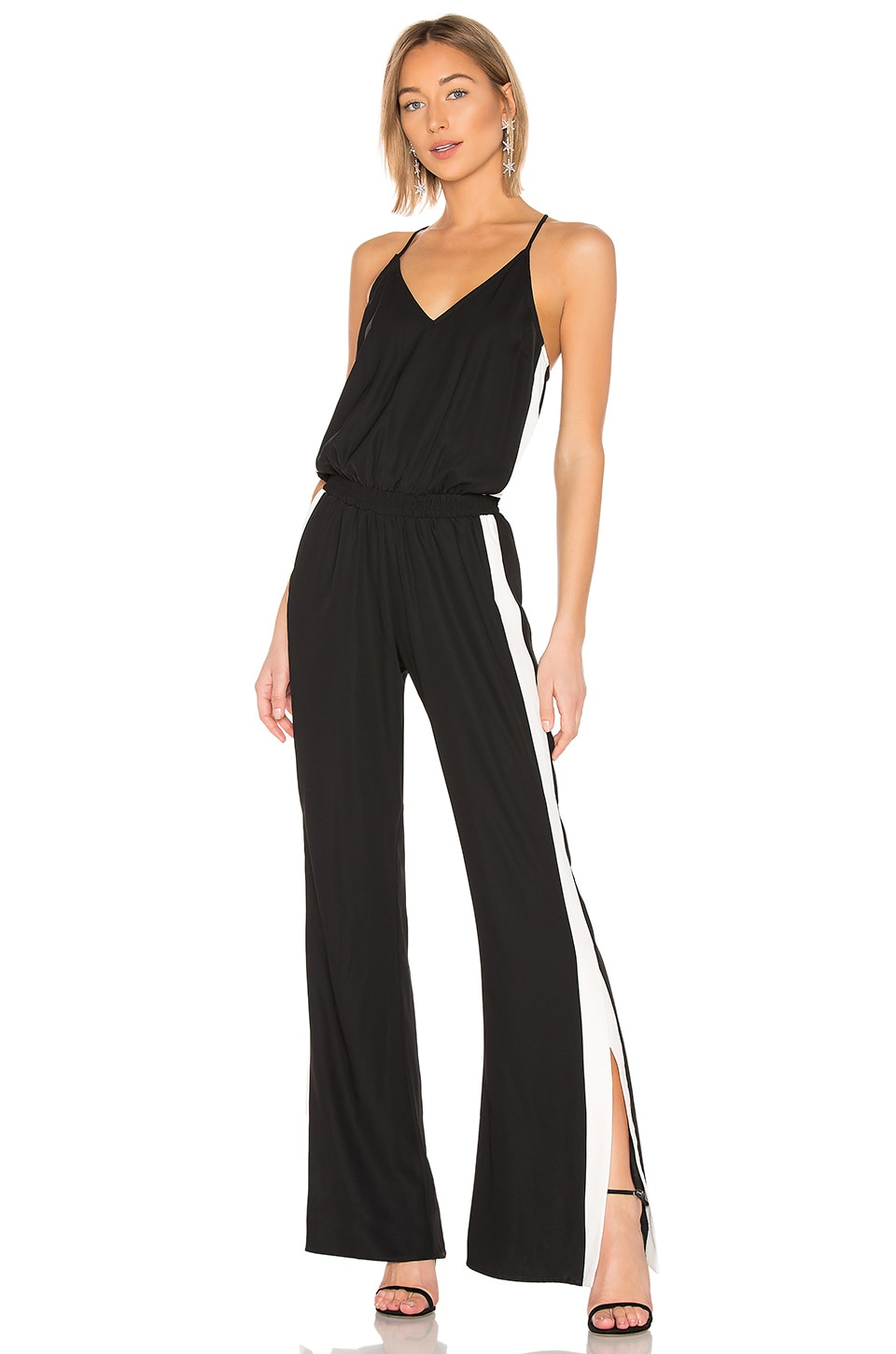 Amanda Uprichard Track Jumpsuit in Black & Ivory