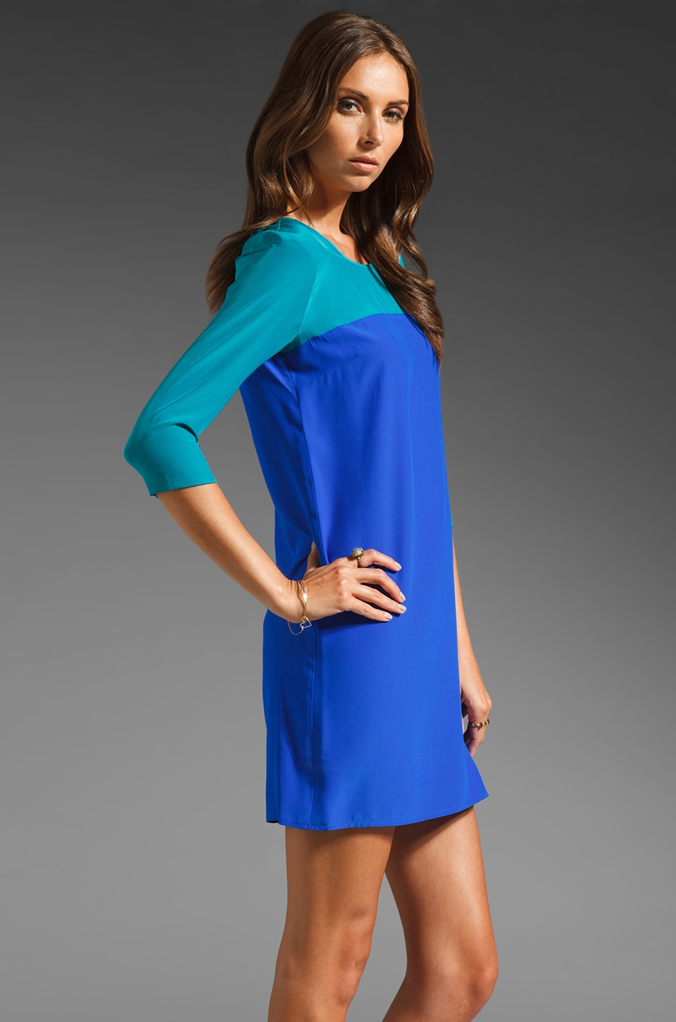 Amanda Uprichard Jordan Dress in Teal/Royal