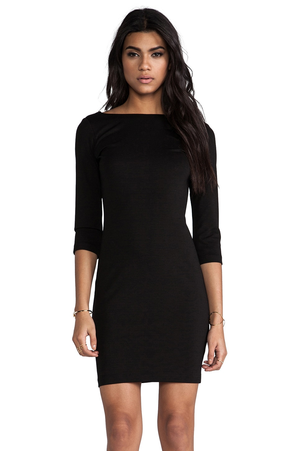 Amanda Uprichard 3/4 Sleeve V Back Mini in Black