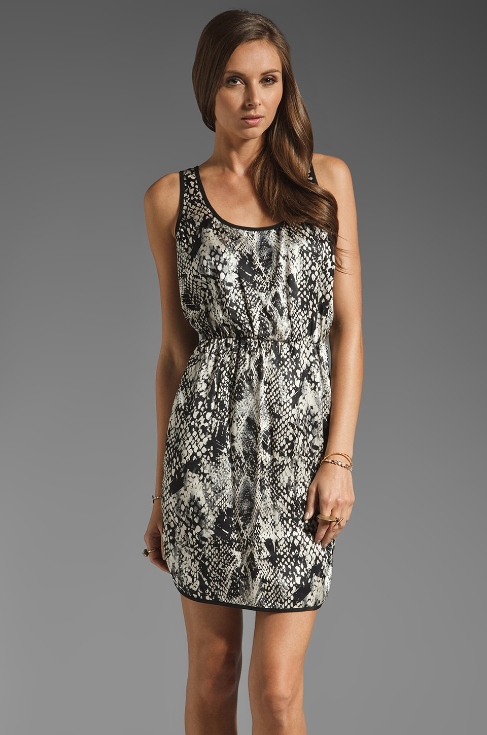 Amanda Uprichard St. Louis Racer Tank Dress in Snake/Black Bias