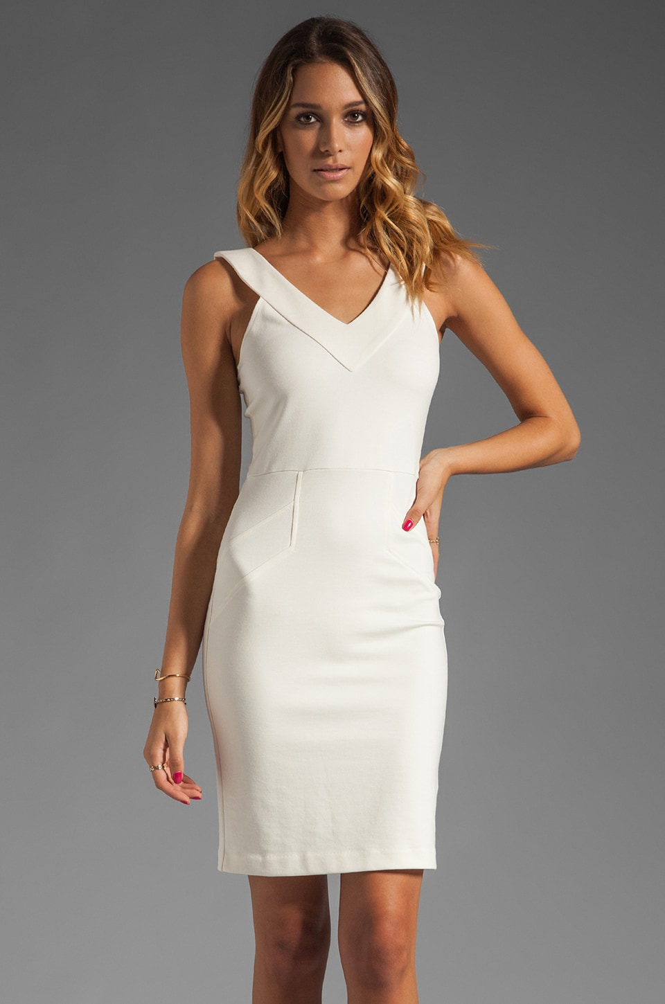 Amanda Uprichard V Neck Ponte Dress in Cream
