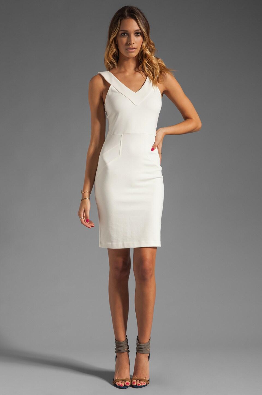 Amanda Uprichard V Neck Ponte Dress in Cream