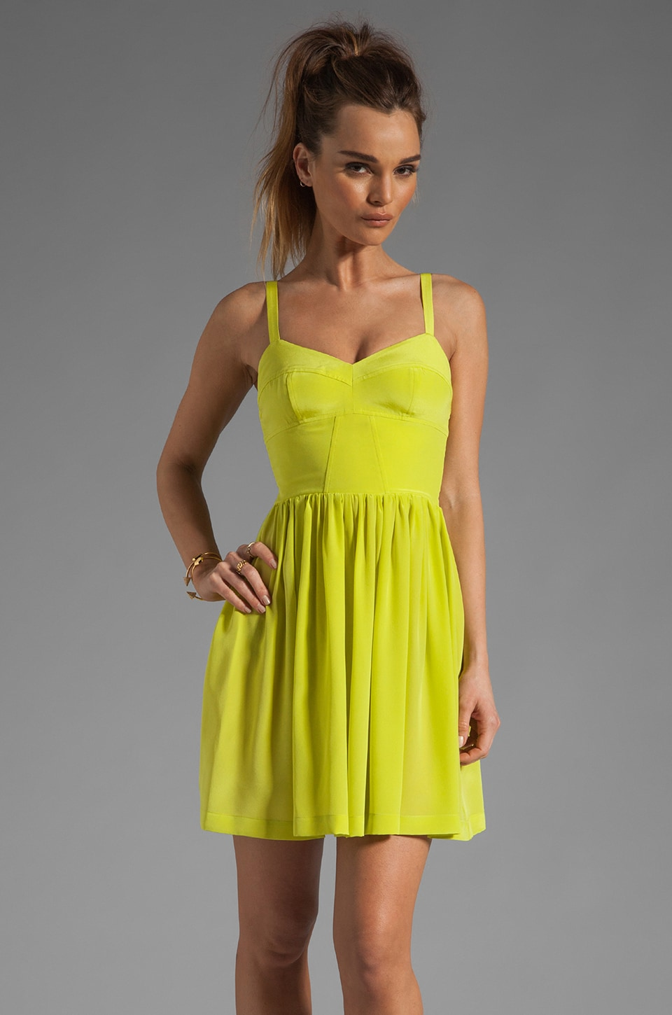 Amanda Uprichard Silk Champagne Dress in Lime