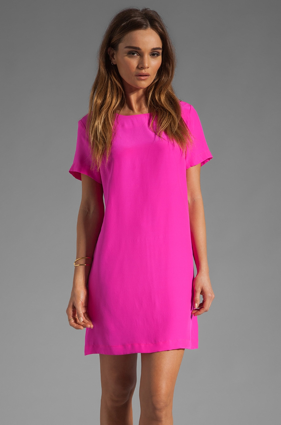 Amanda Uprichard Silk Short Sleeve Sheath Dress in Hot Pink
