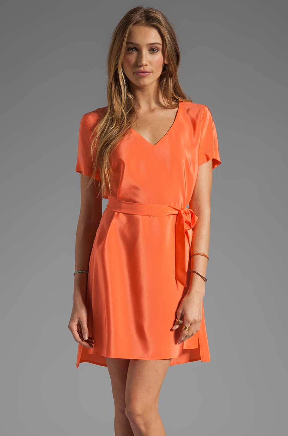 Amanda Uprichard Silk V Neck T Shirt Dress in Coral
