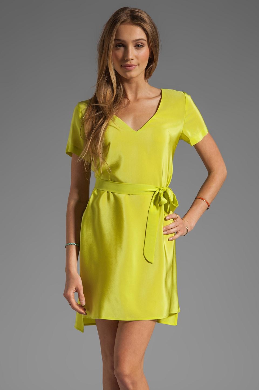 Amanda Uprichard Silk V Neck T Shirt Dress in Lime
