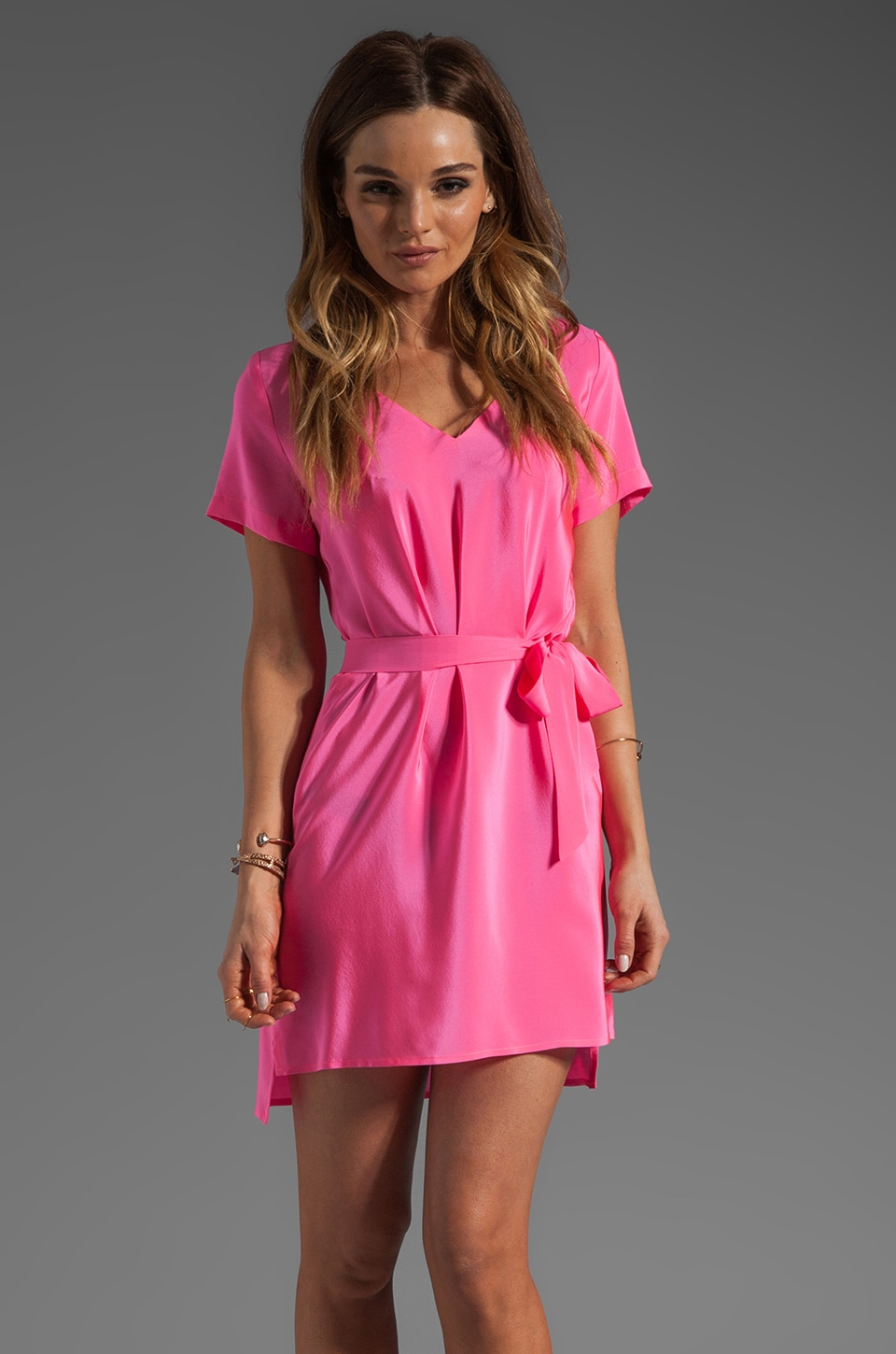 Amanda Uprichard Silk V Neck T Shirt Dress in Hibiscus