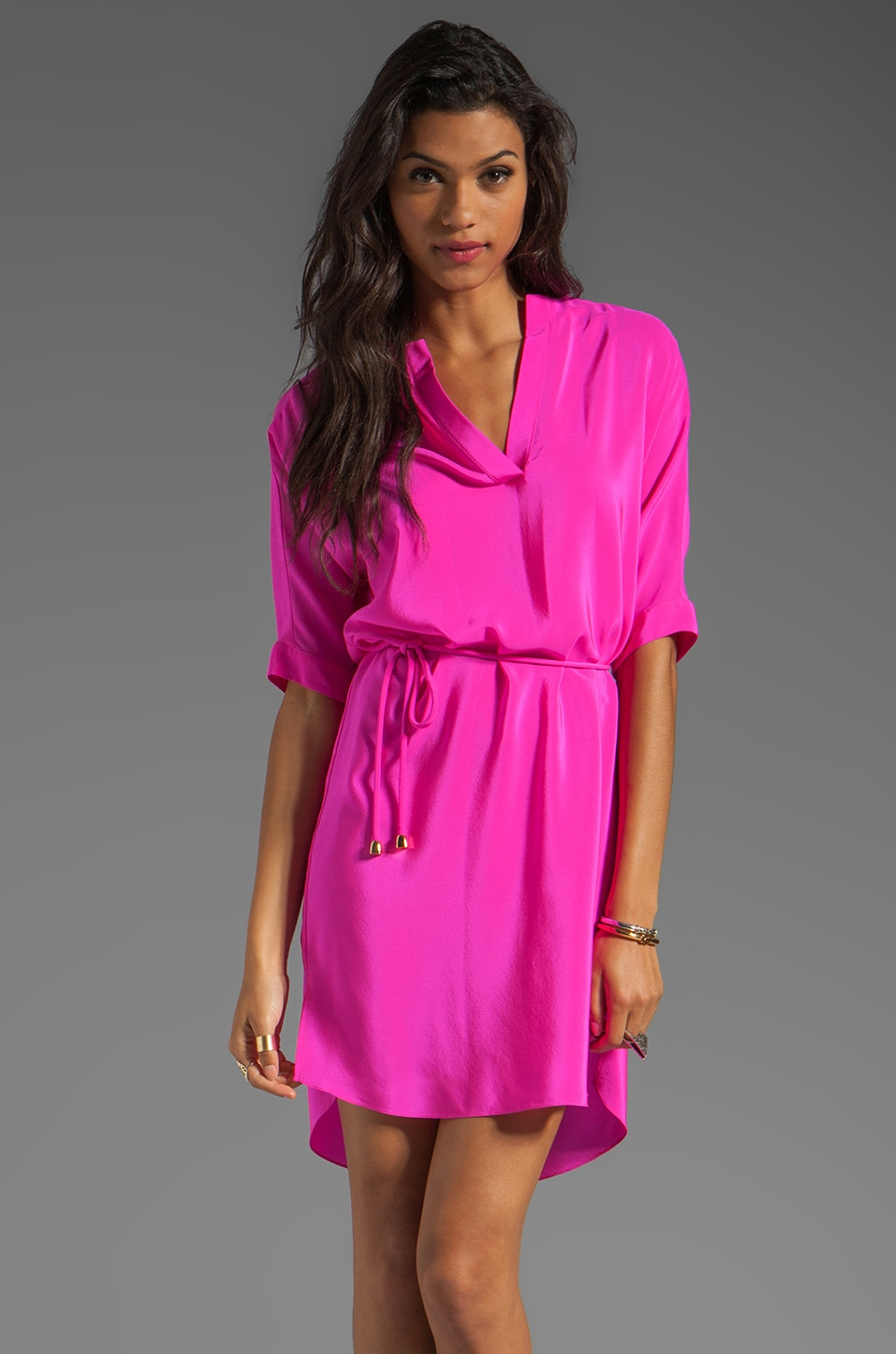 Amanda Uprichard Dolman Dress in Hot Pink