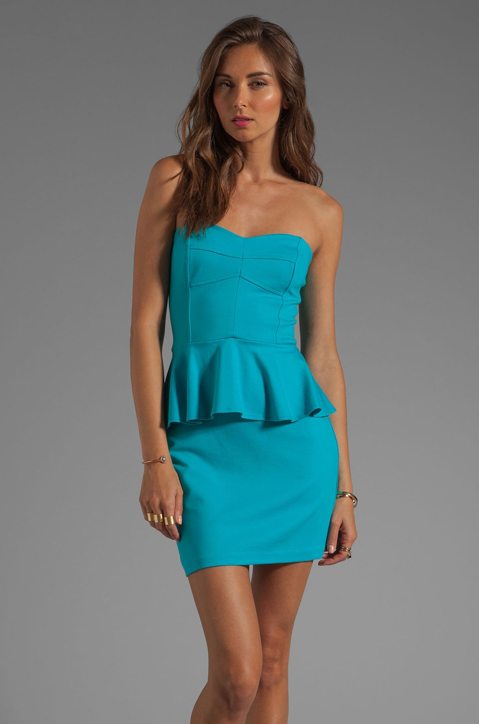 Amanda Uprichard Strapless Peplum Dress in Aqua