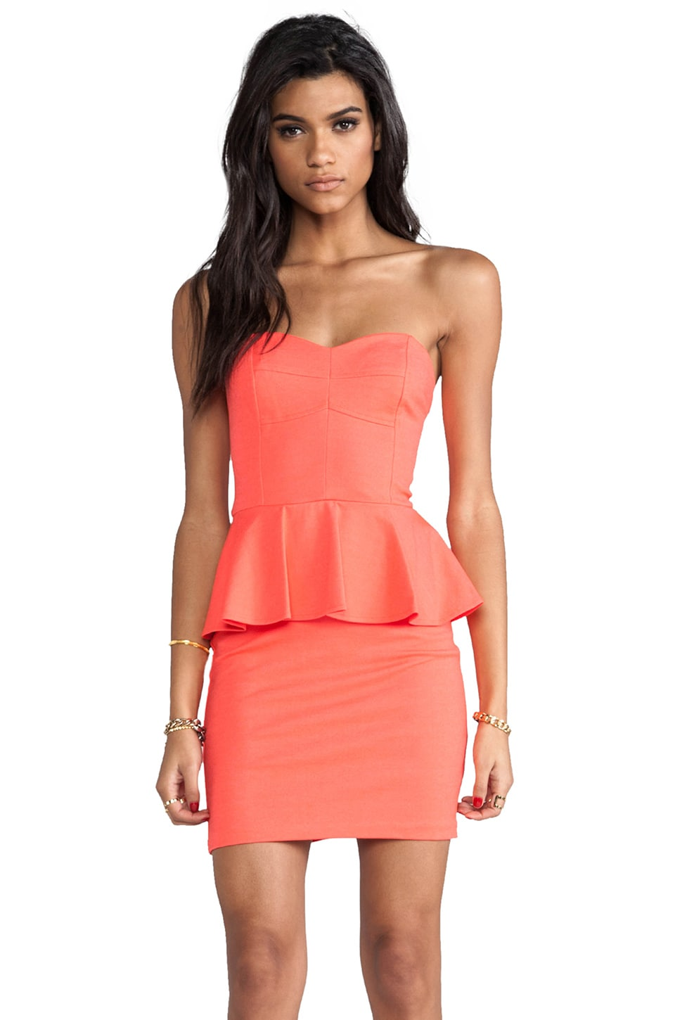 Amanda Uprichard Strapless Peplum Dress in Neon Orange