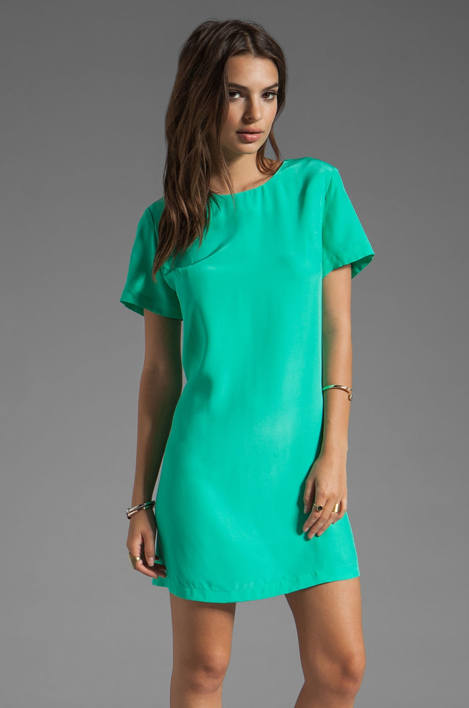 Amanda Uprichard Silk Short Sleeve Sheath Dress in Mint