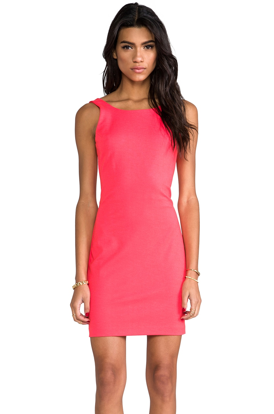 Amanda Uprichard Backless Ponti Dress in Neon Orange