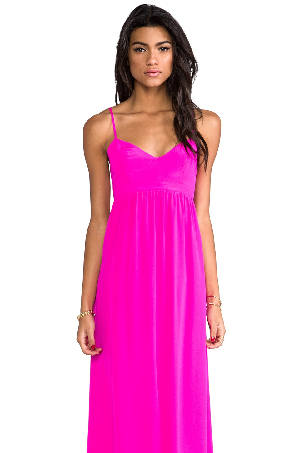 Amanda Uprichard Silk Gown in Hot Pink